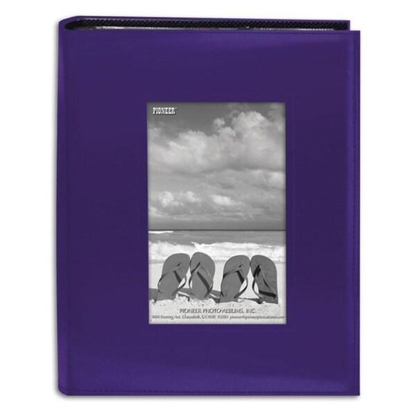 pioneer photo albums 200 pocket sewn bright purple leatherette frame cover al. Black Bedroom Furniture Sets. Home Design Ideas