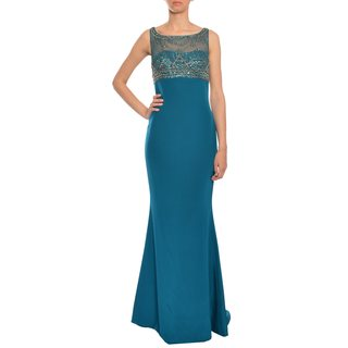 Marchesa Notte Women's Elegant Dark Teal Silk Beaded Illusion Evening Gown Dress