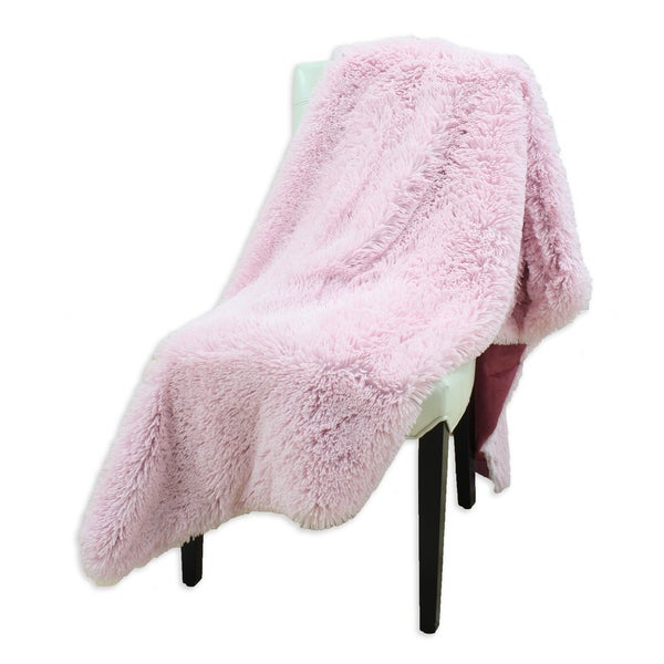 Shaggy 26x40-inch Pink Passion/Dusty Rose Throw Blanket