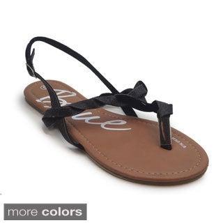 Blue Women's Knots Flat Sandals