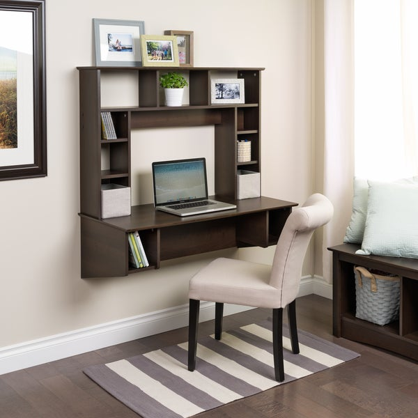 Everett espresso traditional floating desk free shipping for Furniture in everett