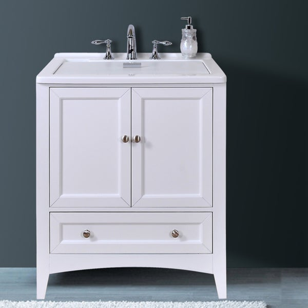 Manhattan white 30 5 inch all in one laundry single vanity sink free shipping today for 30 inch bathroom vanity with sink