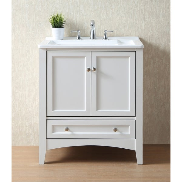 Stufurhome 30 inch white laundry utility sink free for Bathroom cabinet 8 inches wide