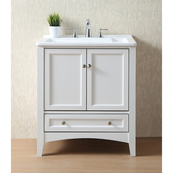 Shop stufurhome 30 inch white laundry utility sink free shipping today 9207432 Used bathroom vanity with sink