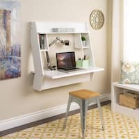 Prepac Winslow White Wood Modern Floating Desk