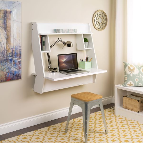 Winslow White Modern Floating Desk Free Shipping Today