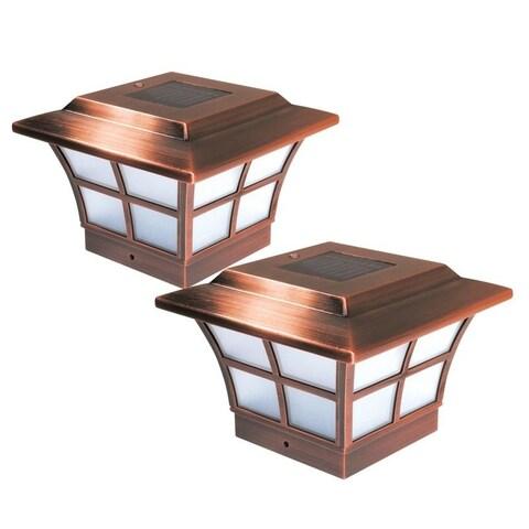 4x4 Copper Plated Prestige Solar Post Cap (Set of 2)