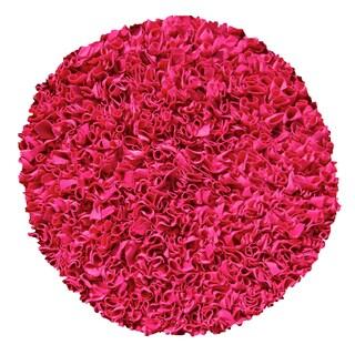 Raspberry Shaggy Raggy Cotton Jersey Rug (4' Round)