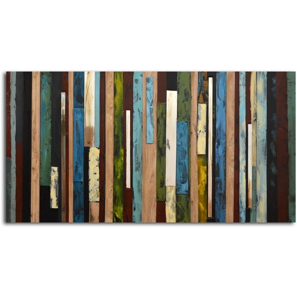 Shop Hand-painted \'Vertical Collage\' Canvas Wall Art - Free Shipping ...