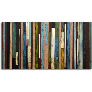 Hand-painted 'Vertical Collage' Canvas Wall Art