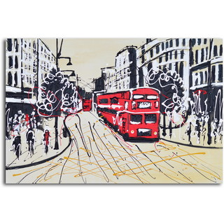 Hand-painted 'The Red Metropolis' Canvas Wall Art
