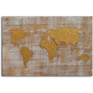 Hand-painted 'Bronzed Pangea' Canvas Wall Art