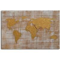 Hand-painted 'Bronzed Pangea' Canvas Wall Art