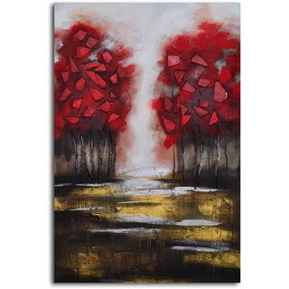 Original Hand-painted 'Passion and Fire' Wrapped Canvas