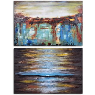 Hand-painted 'Ante Meridian and Post Meridian' 2-piece Canvas Set
