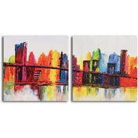 Hand-painted 'Psychedelic City' 2-piece Canvas Set