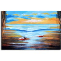 Hand-painted 'Dinghies at Shore' Canvas Wall Art