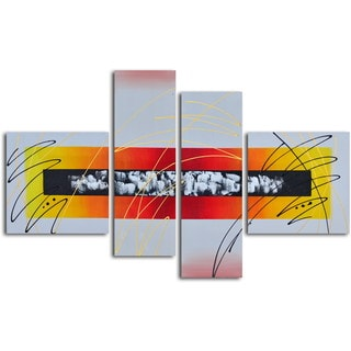 Hand-painted 'Urban Equalizer' 4-piece Canvas set