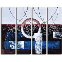 Hand-painted 'Split Diameter' 4-piece Canvas set