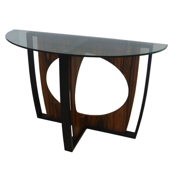 Shop Decca Antique Walnut Oval Glass Top Console Table Ships To