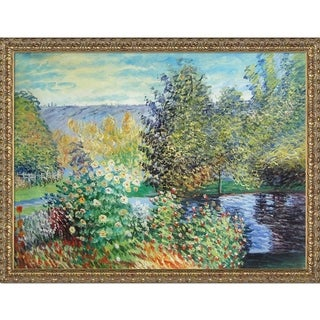 Claude Monet 'Corner of the Garden at Montgeron' Hand-painted Framed Canvas Art