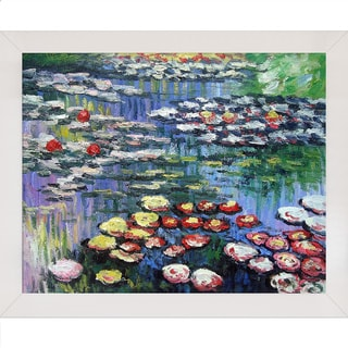 Claude Monet 'Water Lilies' Hand-painted Framed Canvas Art