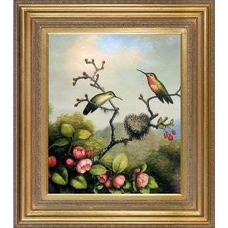 Martin Johnson Heade 'Ruby Throated Hummingbird' Hand-painted Framed Canvas Art