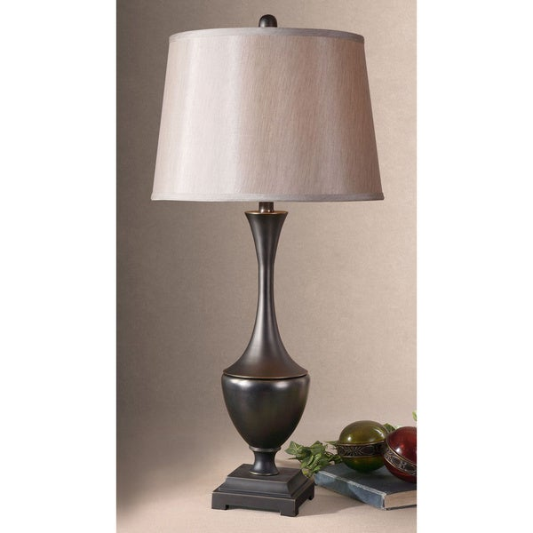 Uttermost Davoli Distressed Dark Bronze Metal and Fabric Table Lamp
