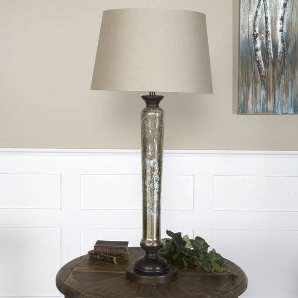 Uttermost Cassini Antiqued Mercury Glass and Wood Table Lamp