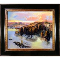 Charles Marion Russell 'The Buffalo Herd' Hand-painted Framed Canvas Art