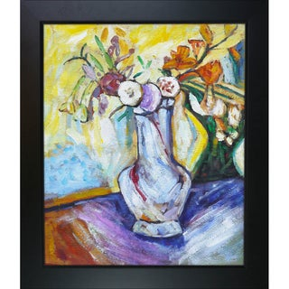 Alfred Henry Maurer Flowers in a White Vase' Hand-painted Framed Canvas Art