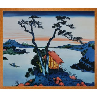 Katsushika Hokusai 'Lake Suwa in the Shinano Province' Hand-painted Framed Canvas Art