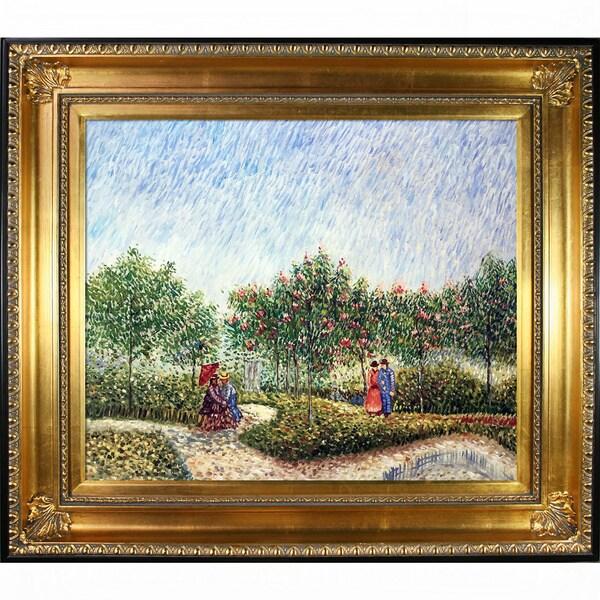 Vincent Van Gogh 'Couples in the Voyer d Argenson Park at Asnierse' Hand-painted Framed Canvas Art