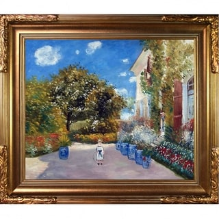 Claude Monet 'La Casa Della Artista' Hand-painted Framed Canvas Art
