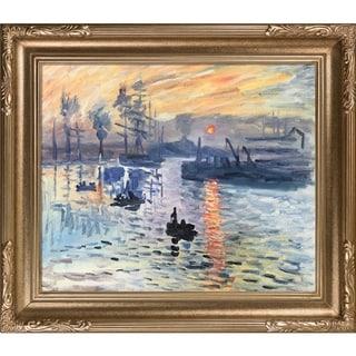 Claude Monet 'Impression, Sunrise' Hand-painted Framed Canvas Art