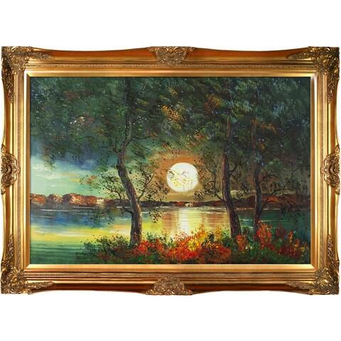 Justyna Kopania 'Moon' Hand-painted Framed Canvas Art