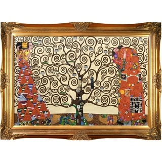 Gustav Klimt 'The Tree of Life, Stoclet Frieze' Hand-painted Framed Canvas Art
