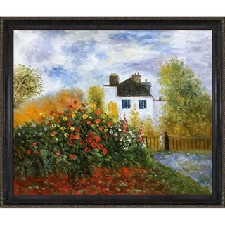 Claude Monet 'The Garden of Monet at Argenteuil, 1873' Hand-painted Framed Canvas Art
