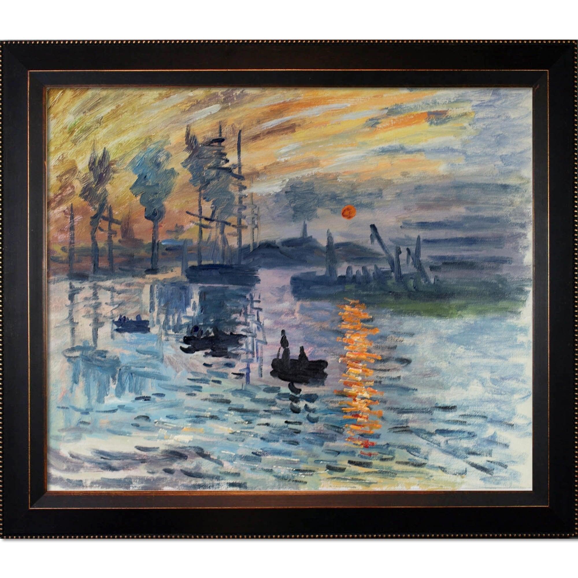 Claude Monet Impression Sunrise Hand Painted Framed Canvas Art Overstock 9207780