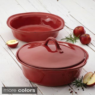 Rachael Ray Cucina Stoneware 3-piece Cranberry Red Round Casserole and Lid Set