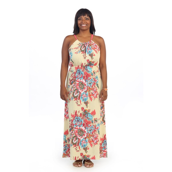Hadari Women's Plus Size Floral Print Halter Maxi Dress