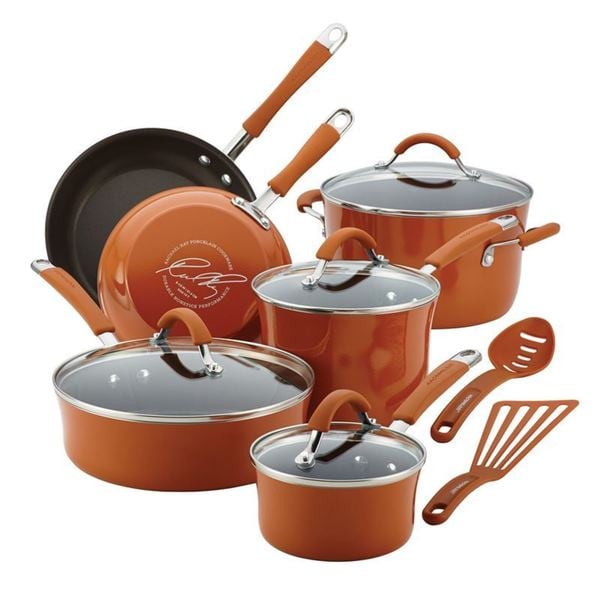 Lovely Rachael Ray Cucina Hard Enamel Nonstick 12 Piece Cookware Set   Free  Shipping Today   Overstock.com   16378513