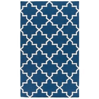 Hand-Woven Stella Moroccan Tile Reversible Flatweave Wool Rug (9' x 12')
