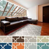 Hand-Woven Janet Moroccan Tile Reversible Flatweave Wool Rug
