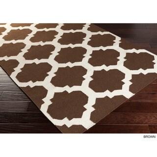 Hand-Woven Ethan Moroccan Trellis Reversible Flatweave Wool Rug (9' x 12')