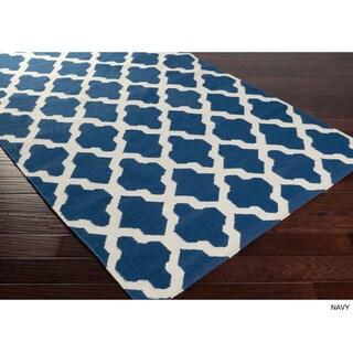 Hand-Woven Jack Lattice Reverisble Flatweave Wool Rug (10' x 14')
