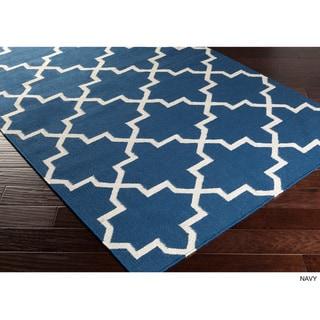 Hand-Woven Will Moroccan Tile Reversible Flatweave Wool Rug (10' x 14')