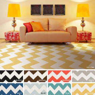 Hand-Woven Leslie Chevron Reverisble Flatweave Wool Rug (8' x 10') - 8' x 10'