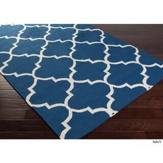 Hand-Woven Reese Trellis Reversible Flatweave Wool Rug (9' x 12')