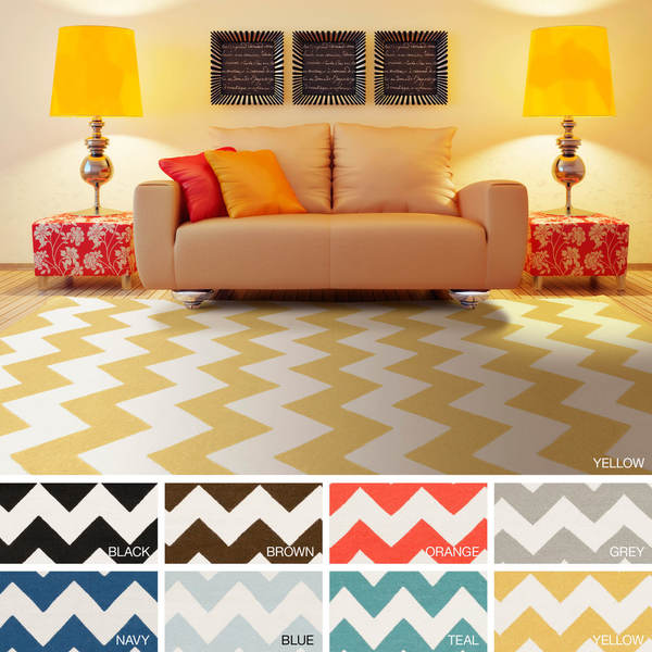 Hand-Woven Catherine Chevron Reverisble Flatweave Wool Rug
